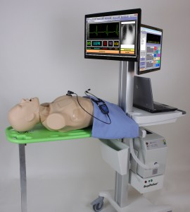 Create a mobile training station for mechanical ventilation management with the optional cart.