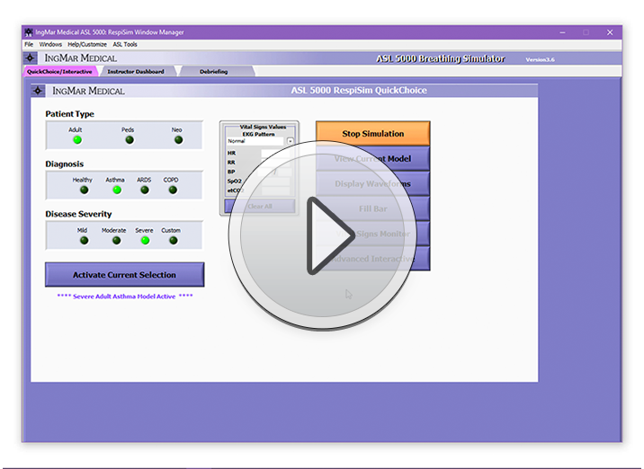 See how to run a simulation with the RespiSim QuickChoice menu.